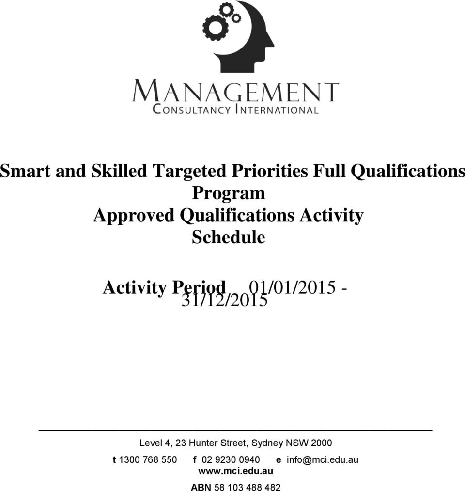 Program Approved Qualifications