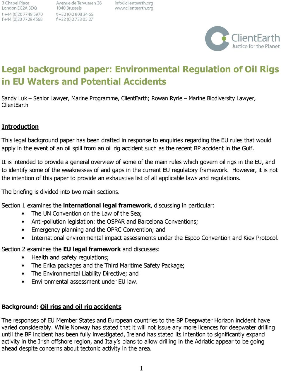 environmental regulation of offshore In the offshore oil and gas industry:  environmental regulation stimulates only certain kind of innovations, which are environmental innovations draft 6.