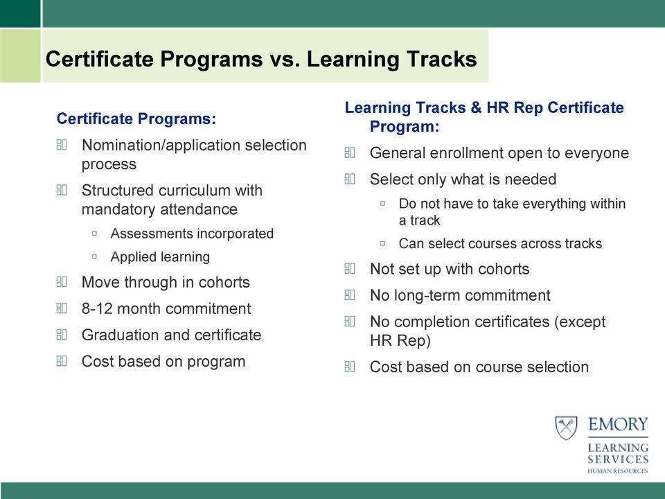 incorporated Applied learning Move through in cohorts 8-12 month commitment Graduation and certificate Cost based on program Learning Tracks & HR Rep