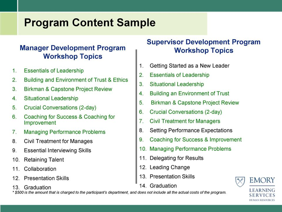Essential Interviewing Skills 10. Retaining Talent 11. Collaboration 12. Presentation Skills 13. Graduation Supervisor Development Program Workshop Topics 1. Getting Started as a New Leader 2.