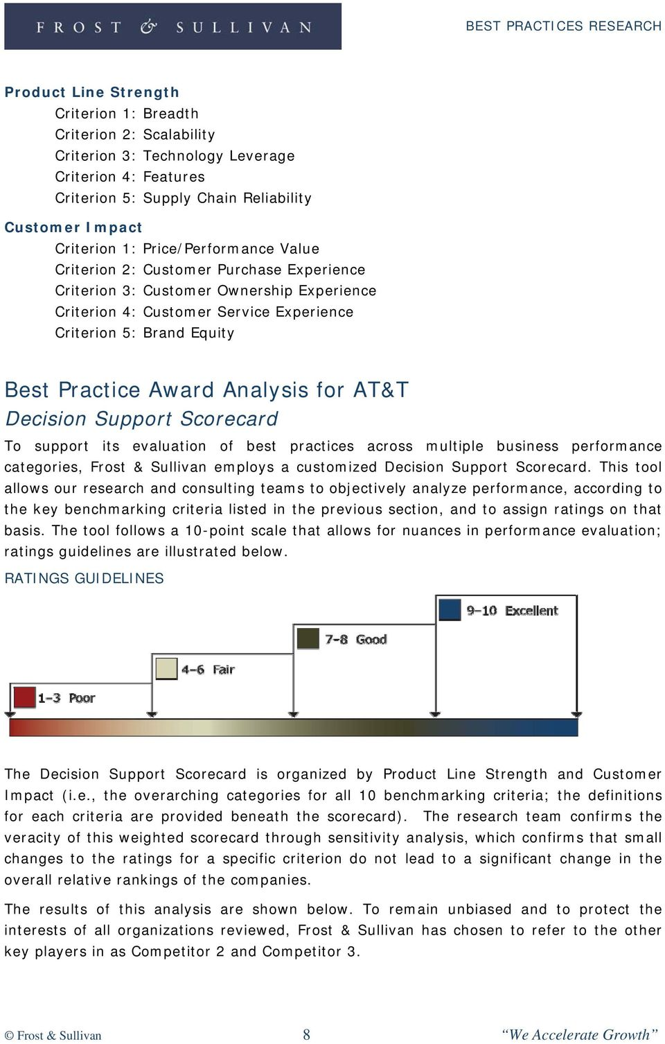 Analysis for AT&T Decision Support Scorecard To support its evaluation of best practices across multiple business performance categories, Frost & Sullivan employs a customized Decision Support