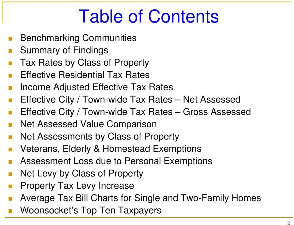 Assessed Value Comparison Net Assessments by Class of Property Veterans, Elderly & Homestead Exemptions Assessment Loss due to Personal