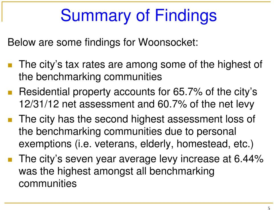 7% of the net levy The city has the second highest assessment loss of the benchmarking communities due to personal exemptions