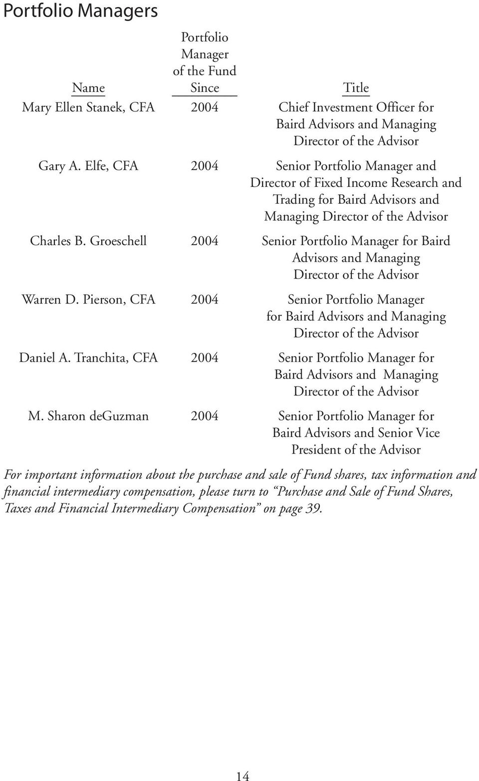 Groeschell 2004 Senior Portfolio Manager for Baird Advisors and Managing Director of the Advisor Warren D.