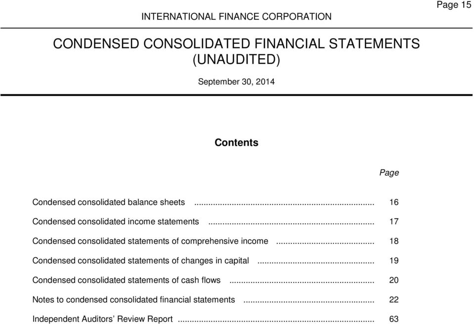 .. 17 Condensed consolidated statements of comprehensive income.