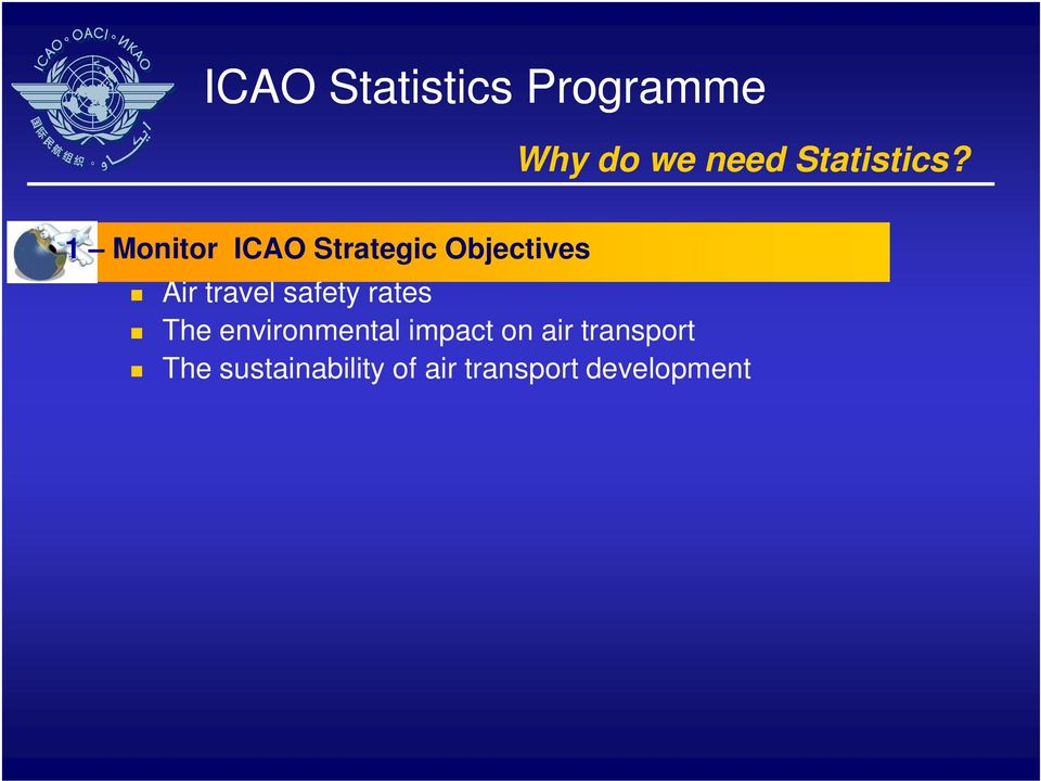 1 Monitor ICAO Strategic Objectives Air travel