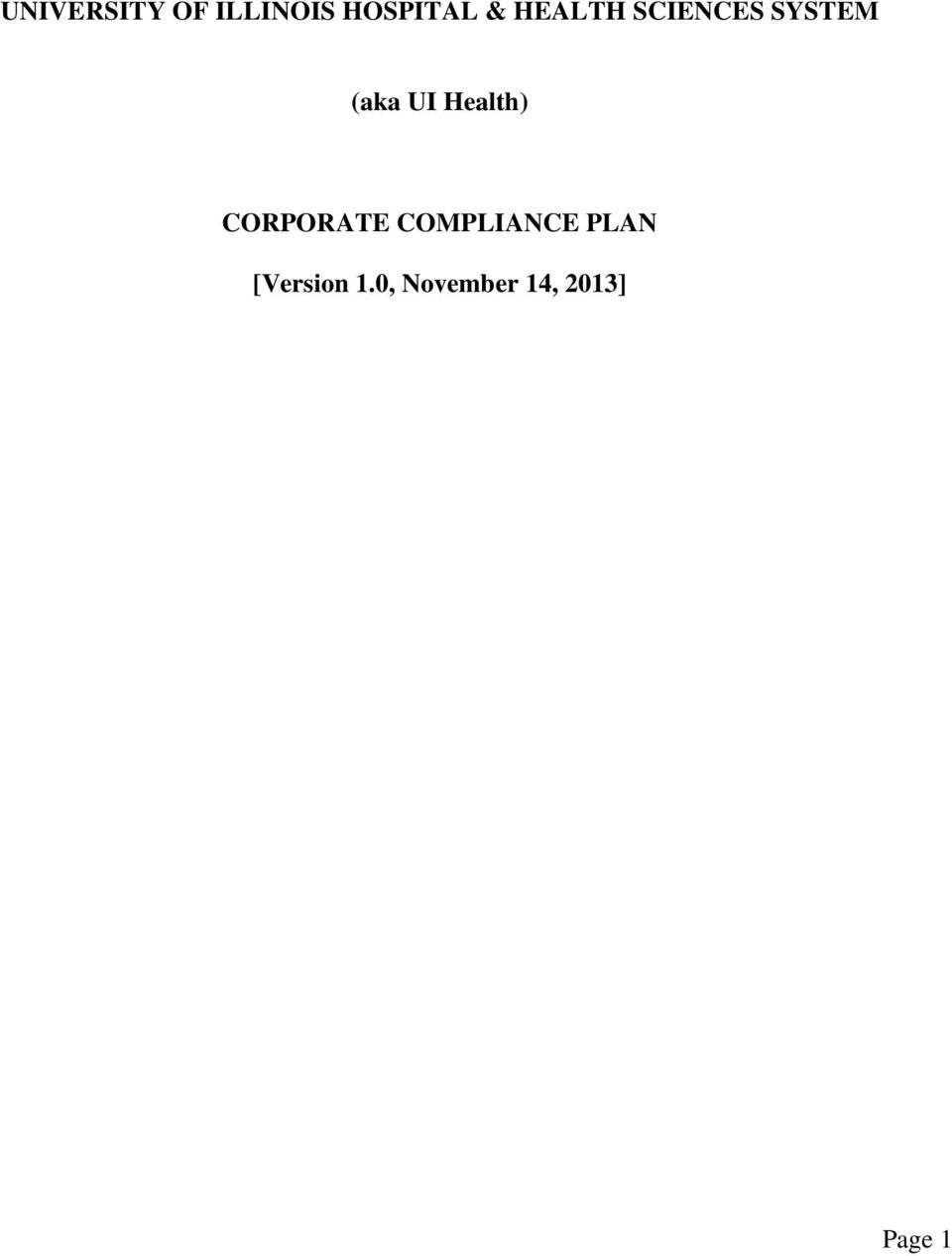 Health) CORPORATE COMPLIANCE PLAN