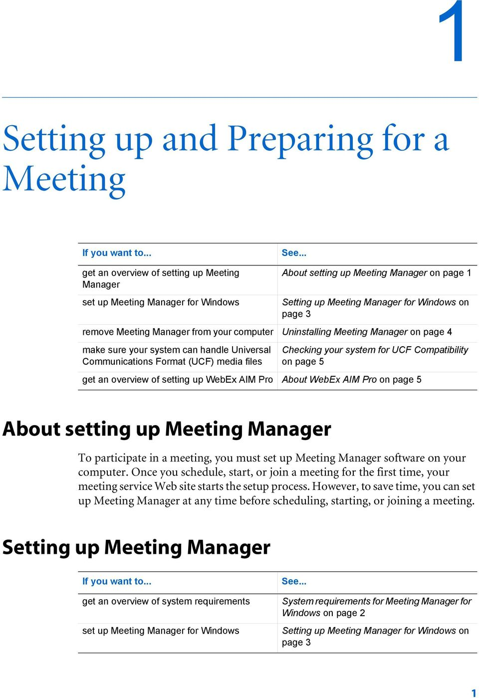 Manager on page 4 make sure your system can handle Universal Communications Format (UCF) media files Checking your system for UCF Compatibility on page 5 get an overview of setting up WebEx AIM Pro