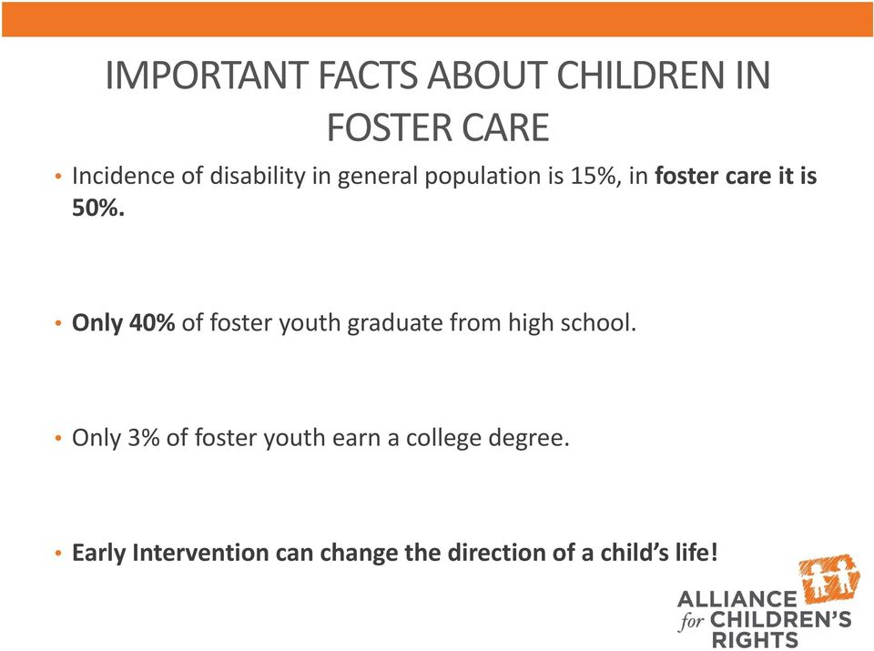 Only 40% of foster youth graduate from high school.