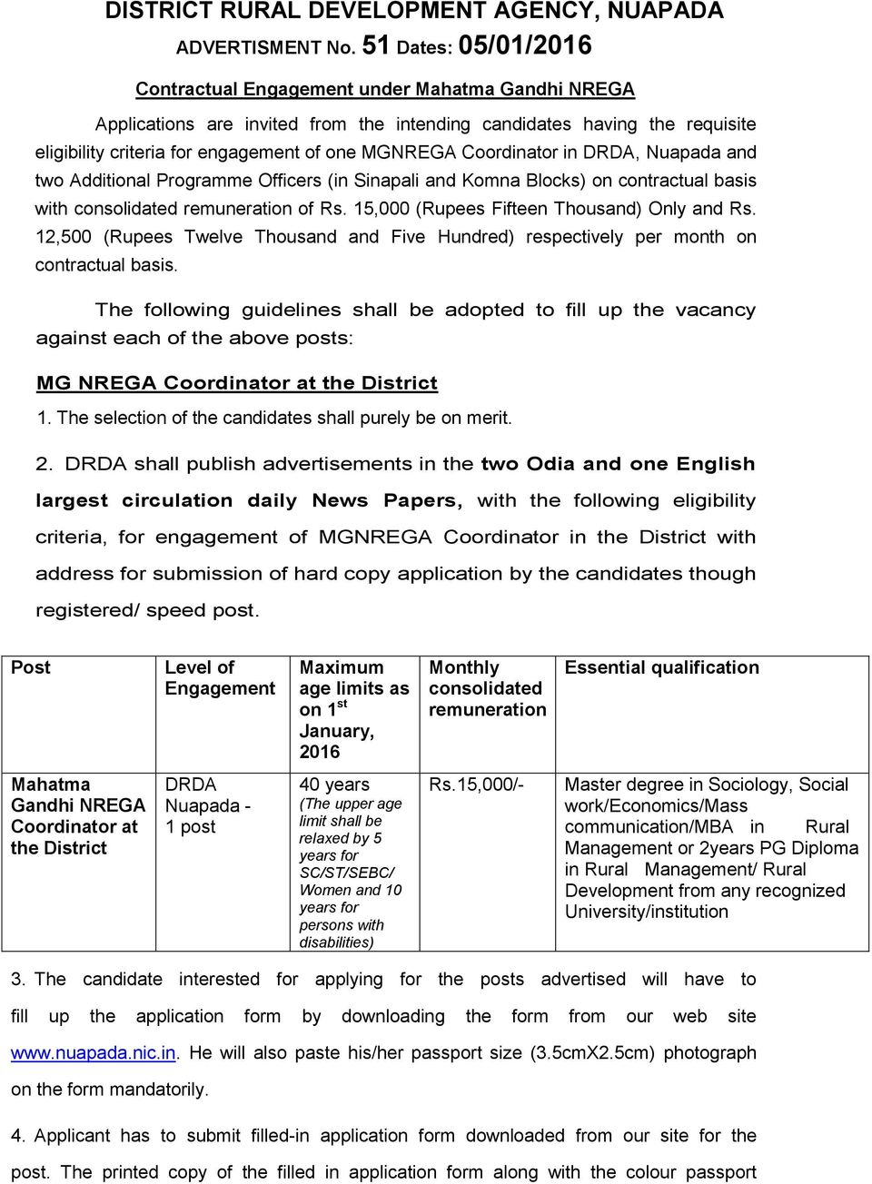 Coordinator in DRDA, Nuapada and two Additional Programme Officers (in Sinapali and Komna Blocks) on contractual basis with consolidated remuneration of Rs.