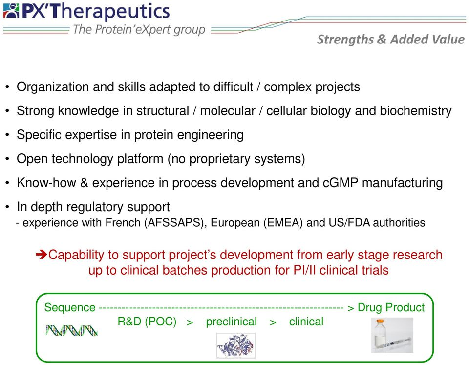 regulatory support - experience with French (AFSSAPS), European (EMEA) and US/FDA authorities Capability to support project s development from early stage research up to