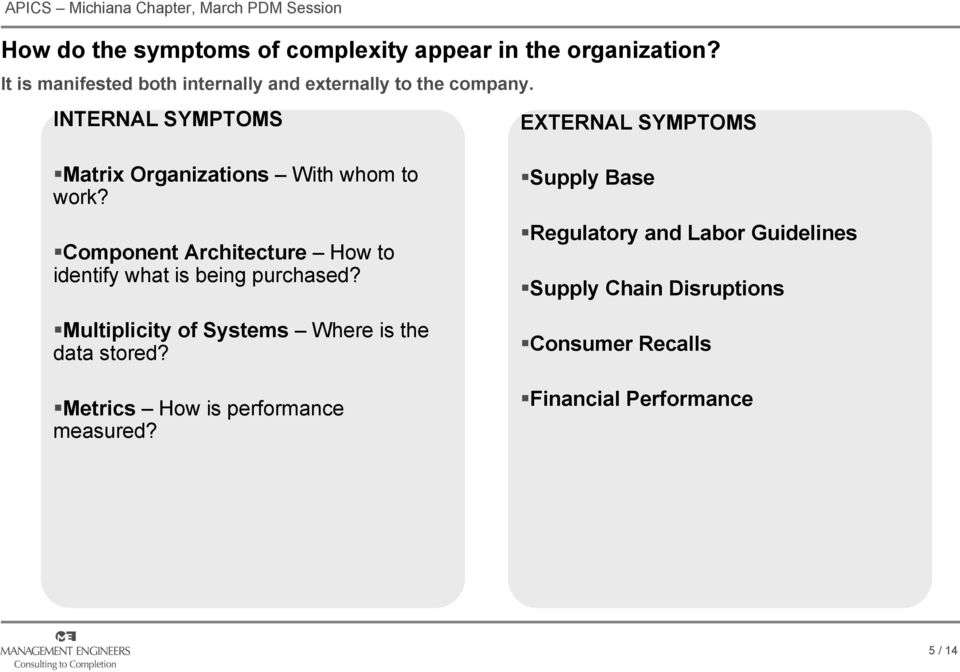 INTERNAL SYMPTOMS EXTERNAL SYMPTOMS Matrix Organizations With whom to work?