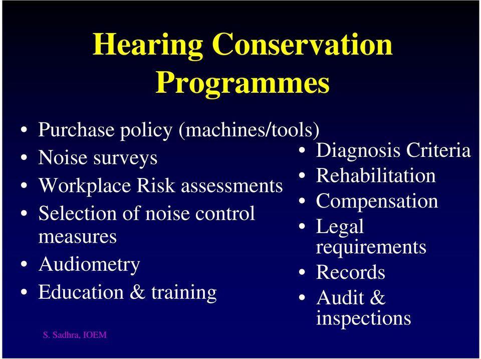 Rehabilitation Compensation Selection of noise control measures