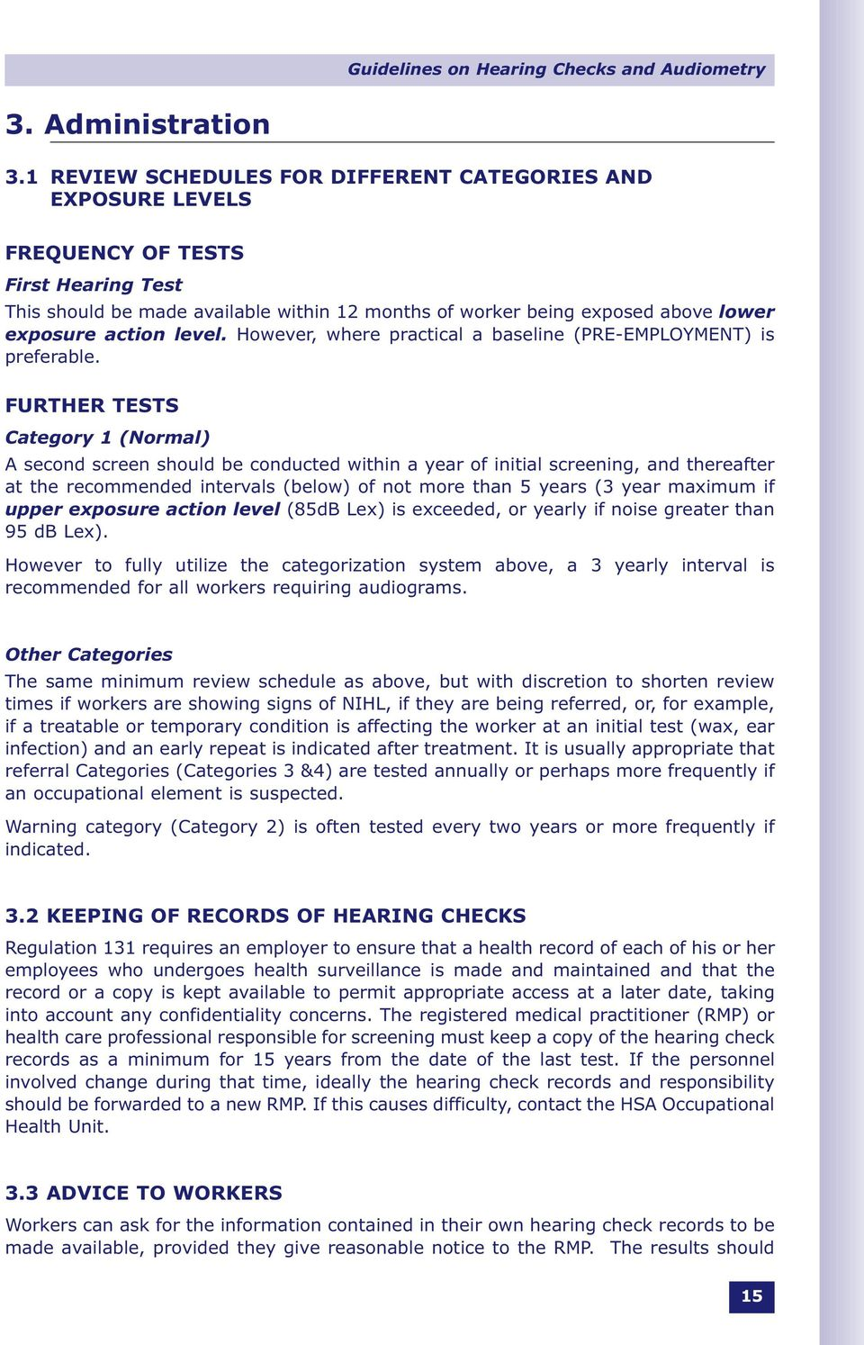 Guidelines on Hearing Checks and Audiometry Under the Safety