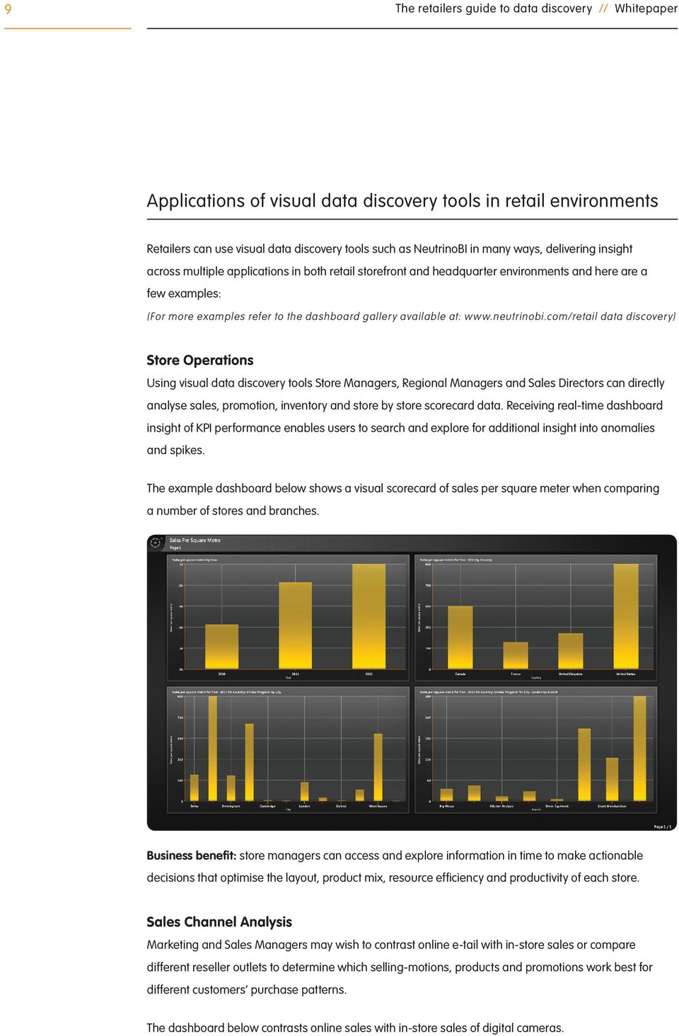 com/retail data discovery) Store Operations Using visual data discovery tools Store Managers, Regional Managers and Sales Directors can directly analyse sales, promotion, inventory and store by store