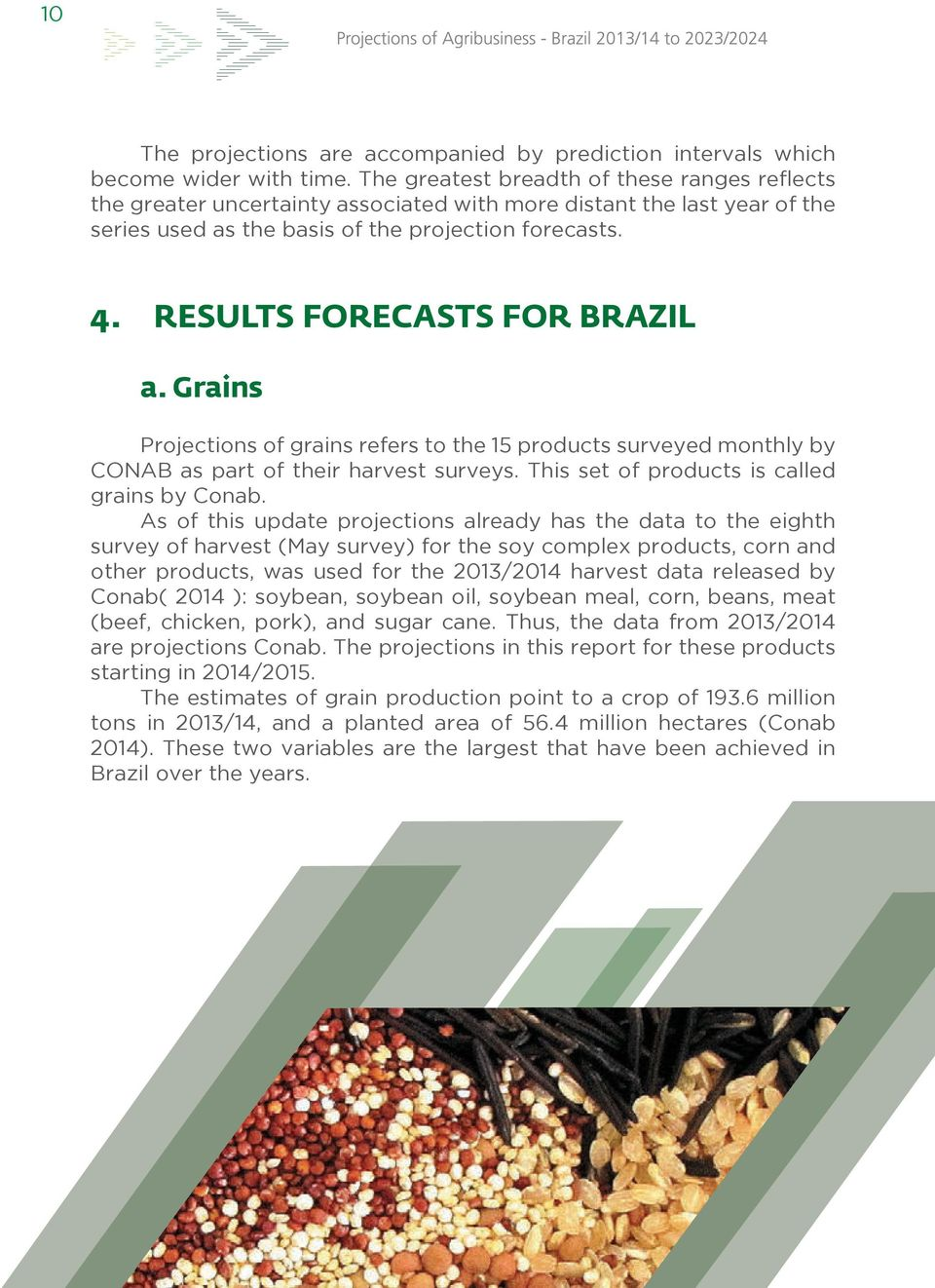 RESULTS FORECASTS FOR BRAZIL a. Grains Projections of grains refers to the 15 products surveyed monthly by CONAB as part of their harvest surveys. This set of products is called grains by Conab.
