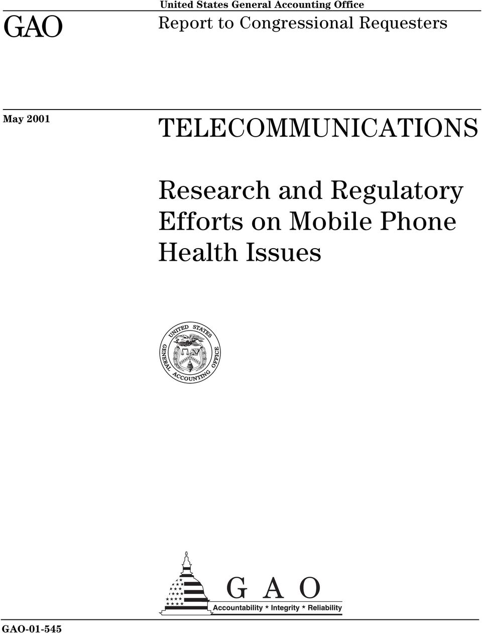 TELECOMMUNICATIONS Research and Regulatory
