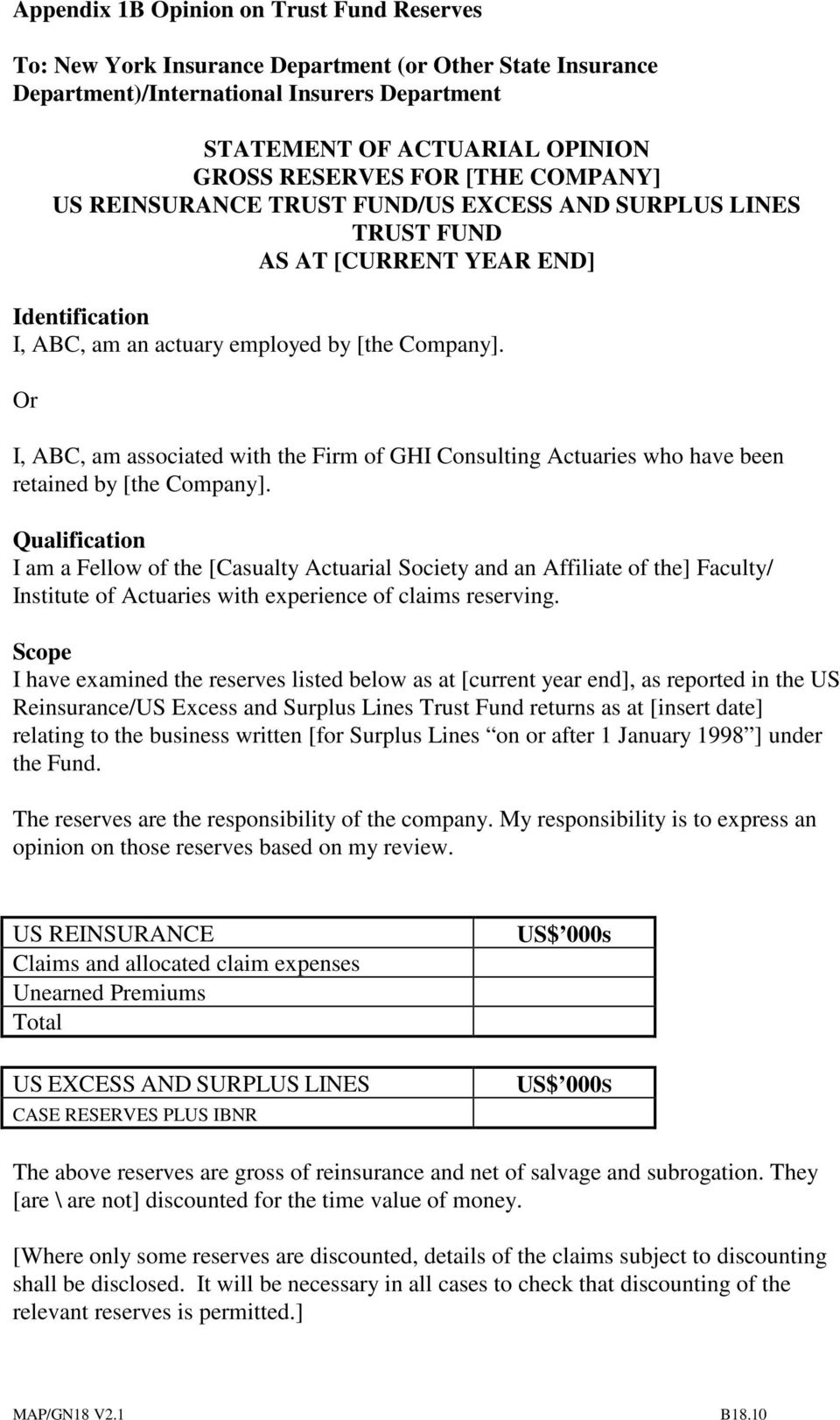Or I, ABC, am associated with the Firm of GHI Consulting Actuaries who have been retained by [the Company].