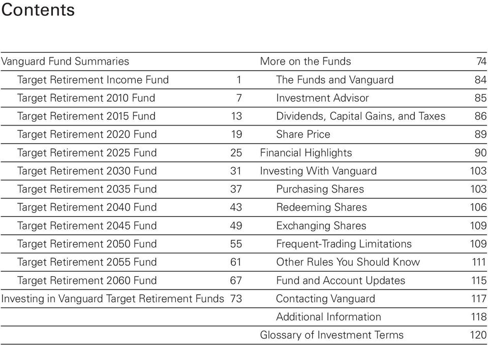 Target Retirement 2035 Fund 37 Purchasing Shares 103 Target Retirement 2040 Fund 43 Redeeming Shares 106 Target Retirement 2045 Fund 49 Exchanging Shares 109 Target Retirement 2050 Fund 55