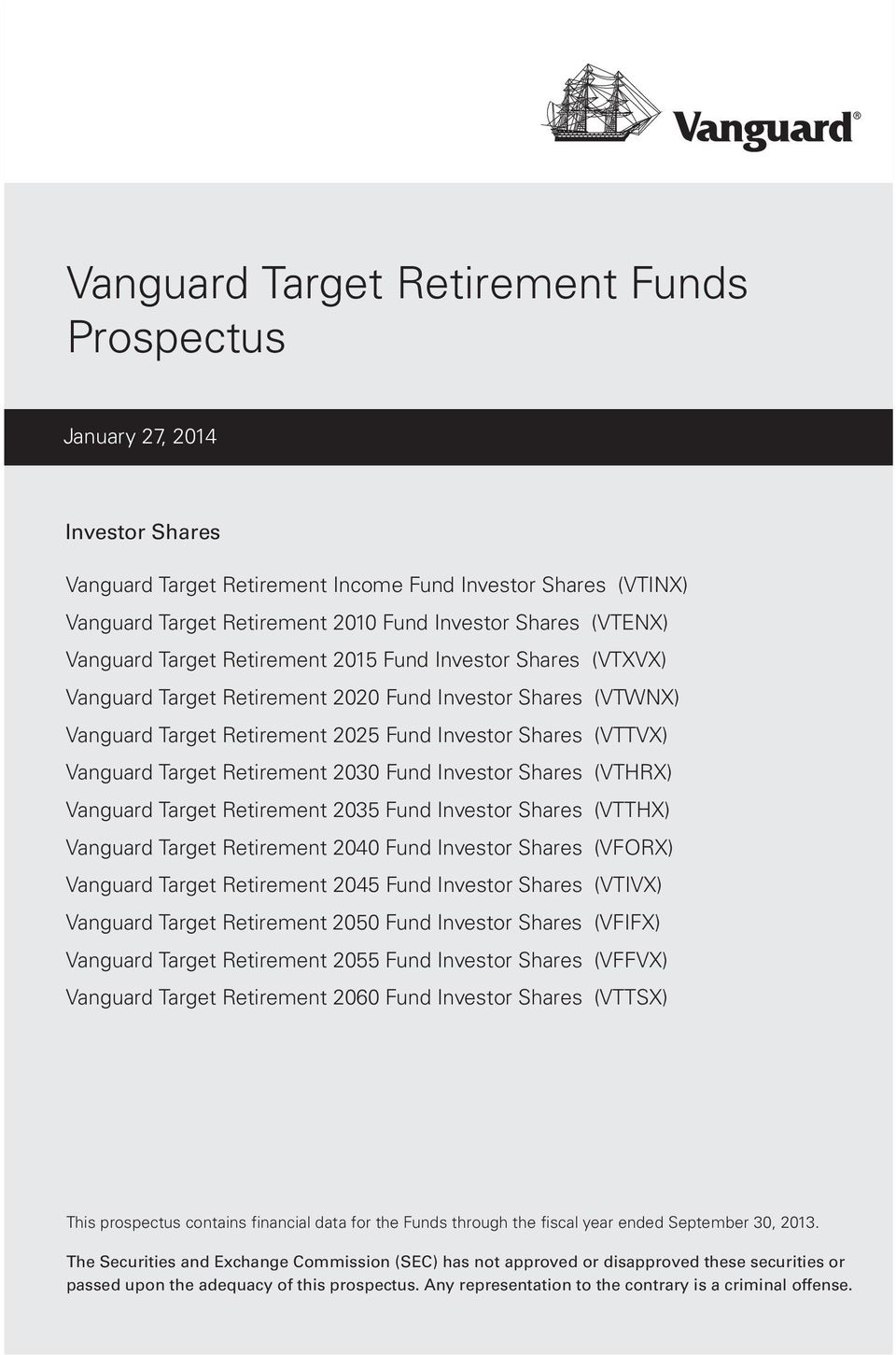 Target Retirement 2030 Fund Investor Shares (VTHRX) Vanguard Target Retirement 2035 Fund Investor Shares (VTTHX) Vanguard Target Retirement 2040 Fund Investor Shares (VFORX) Vanguard Target