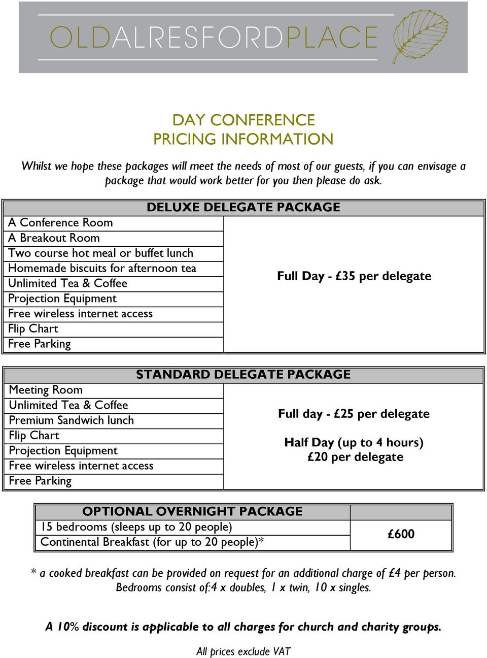 STANDARD DELEGATE PACKAGE Meeting Room Full day - 25 per delegate Premium Sandwich lunch Half Day (up to 4 hours) 20 per delegate Free wireless internet access Free Parking OPTIONAL OVERNIGHT PACKAGE