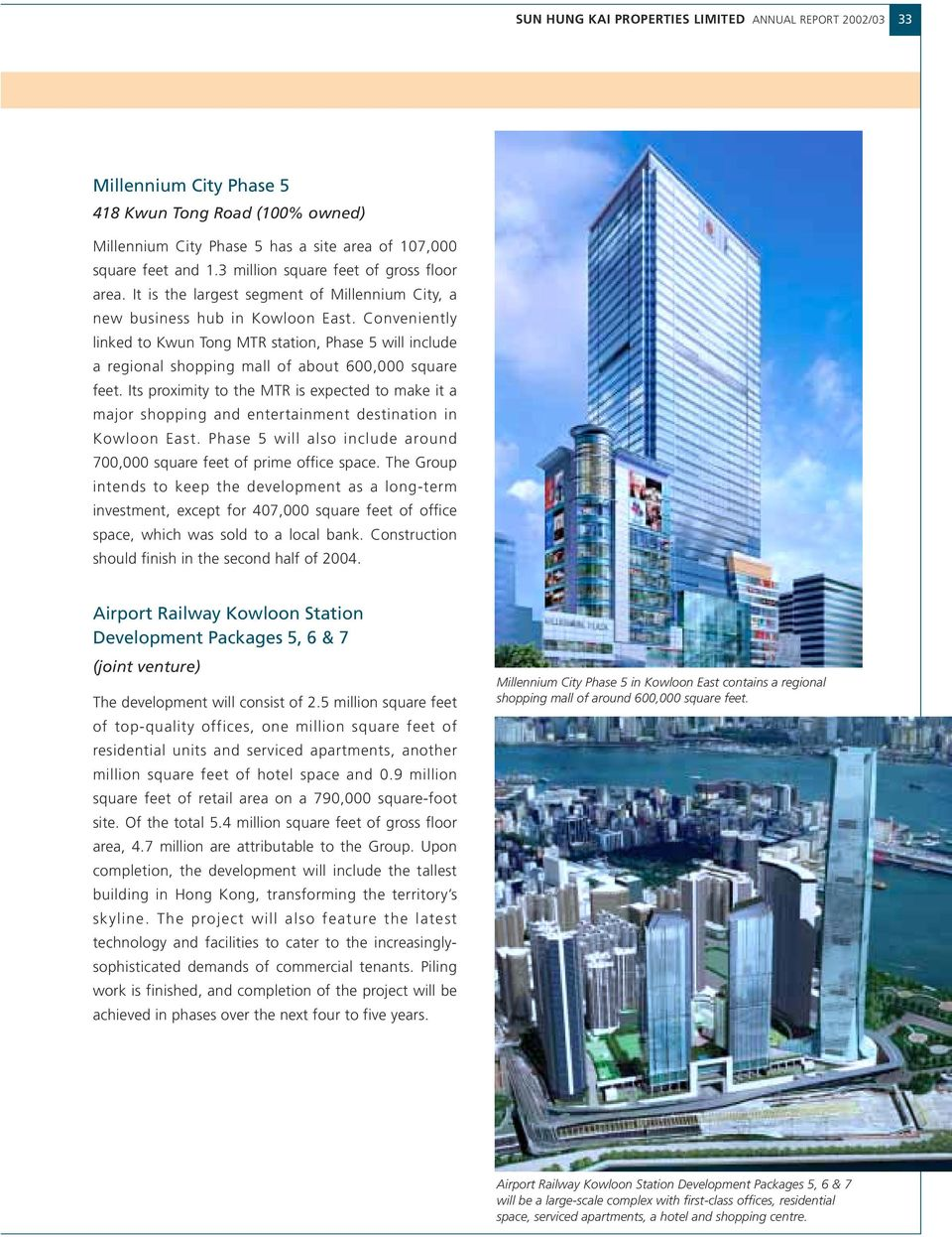 Conveniently linked to Kwun Tong MTR station, Phase 5 will include a regional shopping mall of about 600,000 square feet.