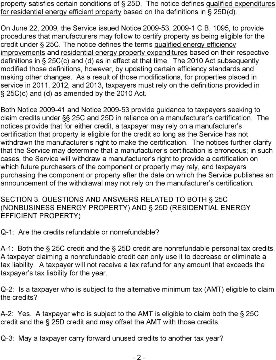 The notice defines the terms qualified energy efficiency improvements and residential energy property expenditures based on their respective definitions in 25C(c) and (d) as in effect at that time.