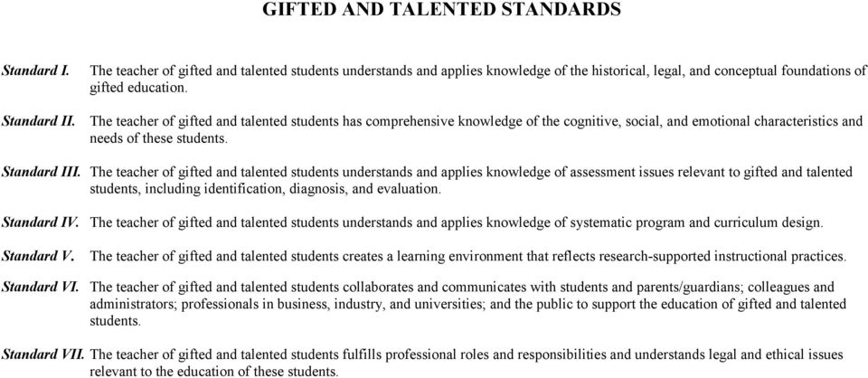 The teacher of gifted and talented students understands and applies knowledge of assessment issues relevant to gifted and talented students, including identification, diagnosis, and evaluation.