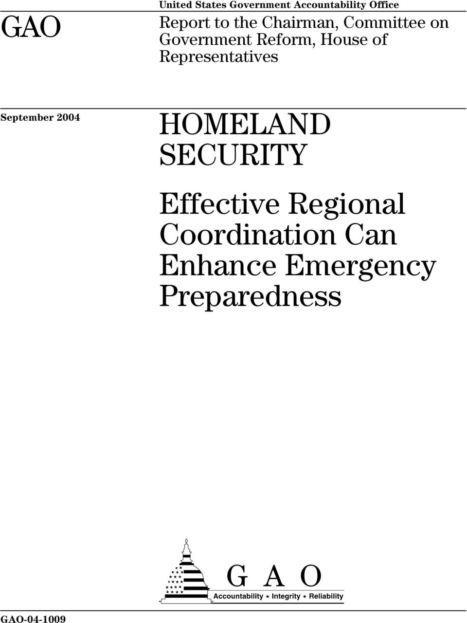 Representatives September 2004 HOMELAND SECURITY Effective