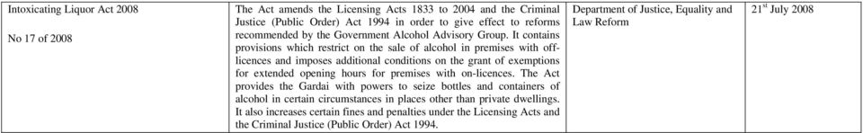 It contains provisions which restrict on the sale of alcohol in premises with offlicences and imposes additional conditions on the grant of exemptions for extended opening hours