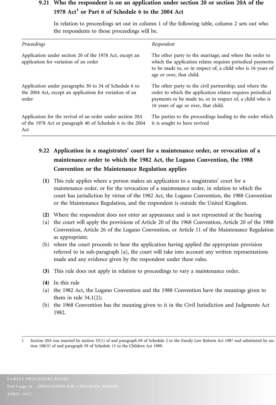 Proceedings Application under section 20 of the 1978 Act, except an application for variation of an order Application under paragraphs 30 to 34 of Schedule 6 to the 2004 Act, except an application