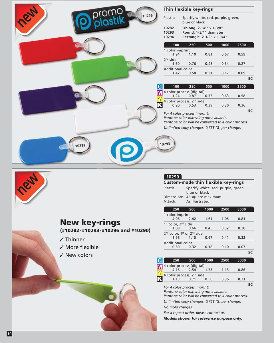 "26 10282 10293 new 10290 Custom-made thin flexible key-rings Specify white, red, purple, green, blue or black 4"" square maximum Attach: As illustrated New key-rings (#10282-#10293-#10296 and #10290)"