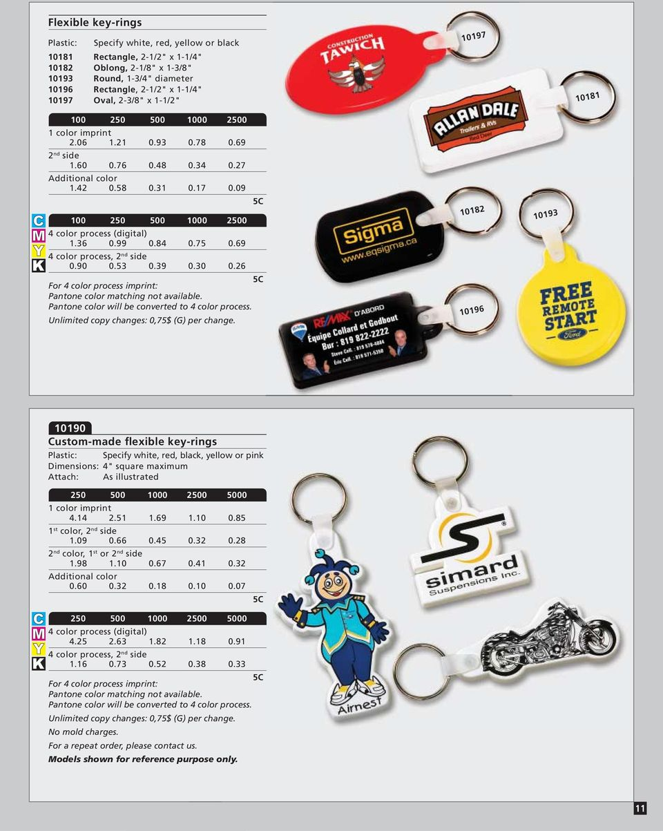 "26 10182 10196 10193 10190 Custom-made flexible key-rings Specify white, red, black, yellow or pink 4"" square maximum Attach: As illustrated 4.14 2.51 1.69 1.10 0.85 1 st color, 1.09 0.66 0.45 0.32 0."