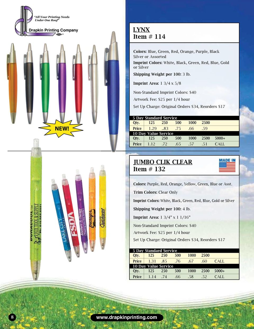 51 CALL JUMBO CLIK CLEAR Item # 132 Colors: Purple, Red, Orange, Yellow, Green, Blue or Asst.