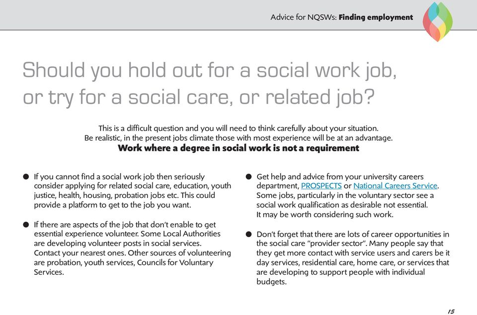 Work where a degree in social work is not a requirement l If you cannot find a social work job then seriously consider applying for related social care, education, youth justice, health, housing,
