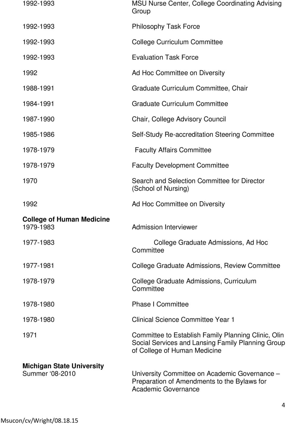 1978-1979 Faculty Affairs Committee 1978-1979 Faculty Development Committee 1970 Search and Selection Committee for Director (School of Nursing) 1992 Ad Hoc Committee on Diversity College of Human
