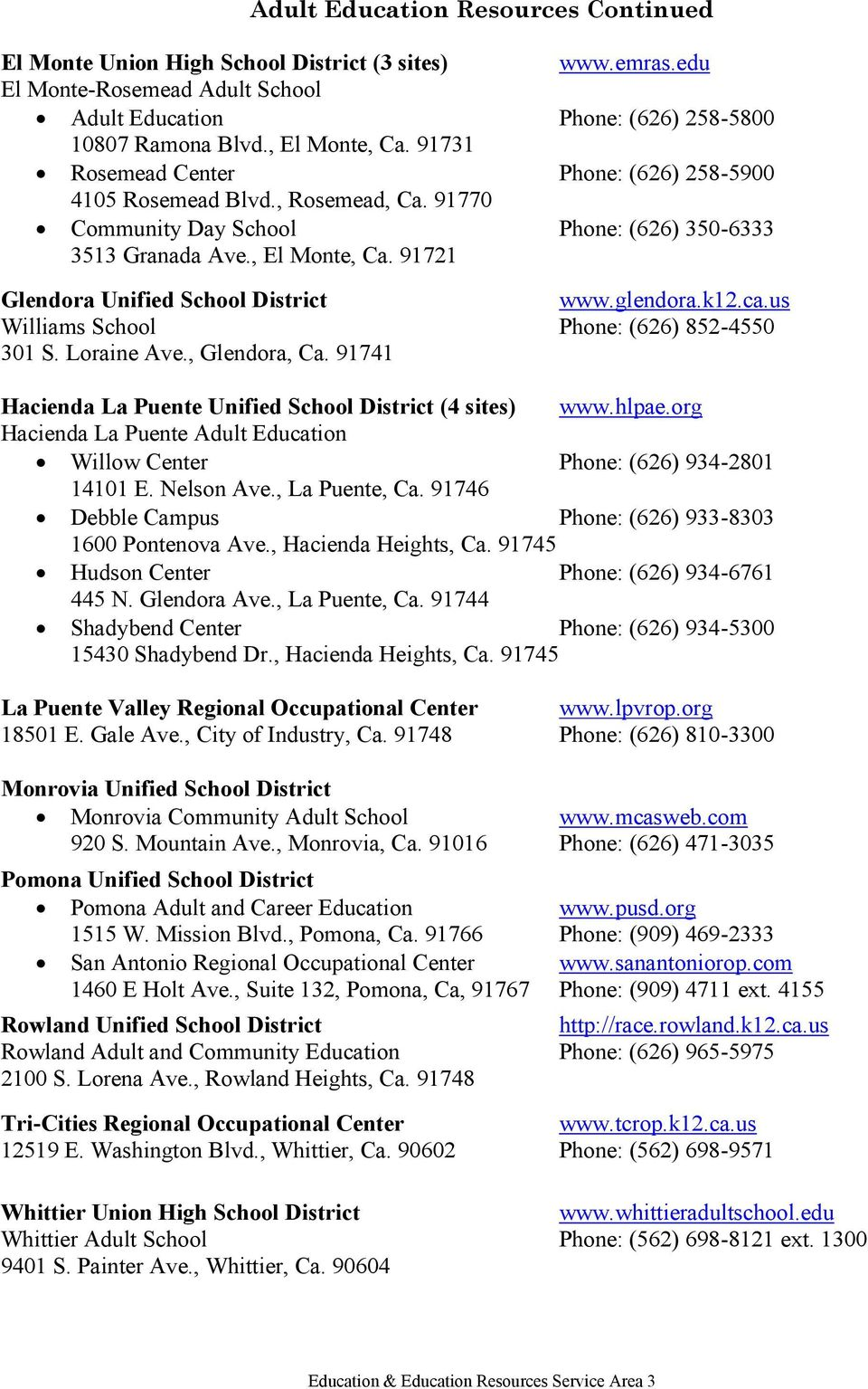 91721 Glendora Unified School District www.glendora.k12.ca.us Williams School Phone: (626) 852-4550 301 S. Loraine Ave., Glendora, Ca. 91741 Hacienda La Puente Unified School District (4 sites) www.
