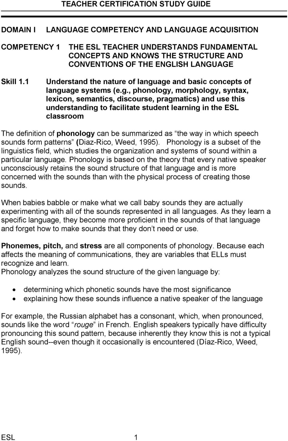 age and basic concepts of language systems (e.g., phonology, morphology, syntax, lexicon, semantics, discourse, pragmatics) and use this understanding to facilitate student learning in the ESL