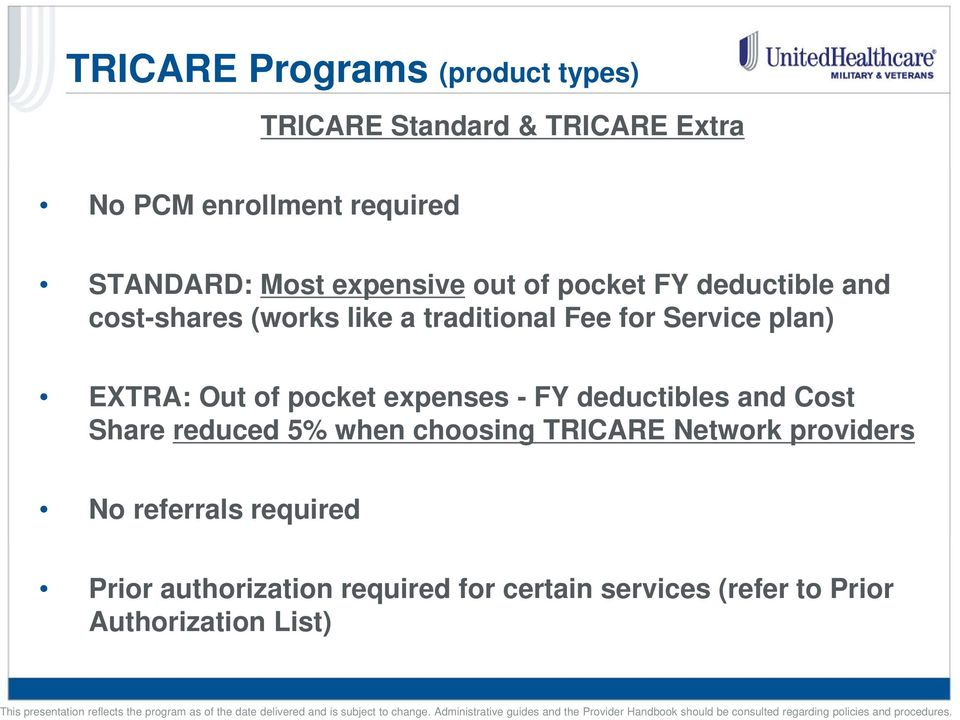 EXTRA: Out of pocket expenses - FY deductibles and Cost Share reduced 5% when choosing TRICARE Network