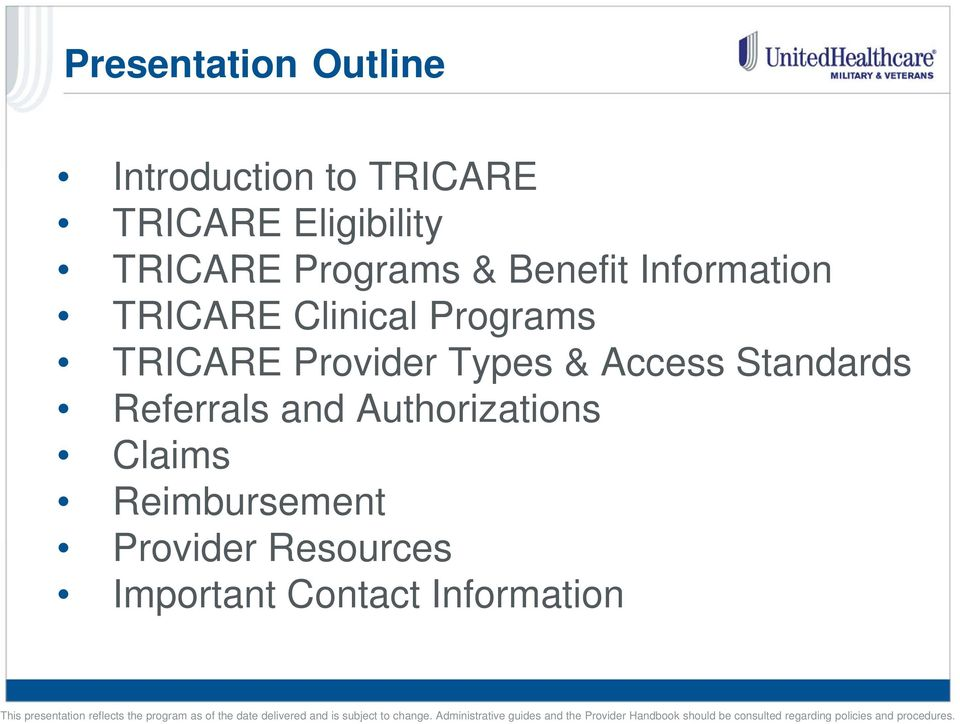 TRICARE Provider Types & Access Standards Referrals and