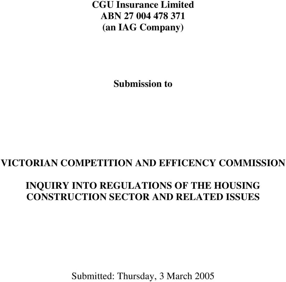 COMMISSION INQUIRY INTO REGULATIONS OF THE HOUSING