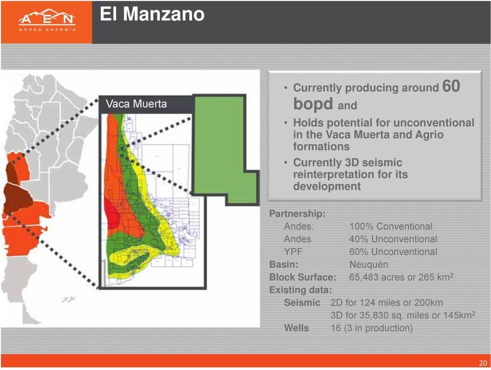 Andes 40% Unconventional YPF 60% Unconventional Basin: Neuquén Block Surface: 65,483 acres or 265 km 2