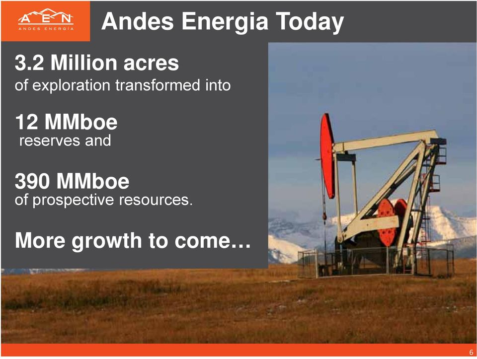 and Andes Energia Today 390 MMboe of