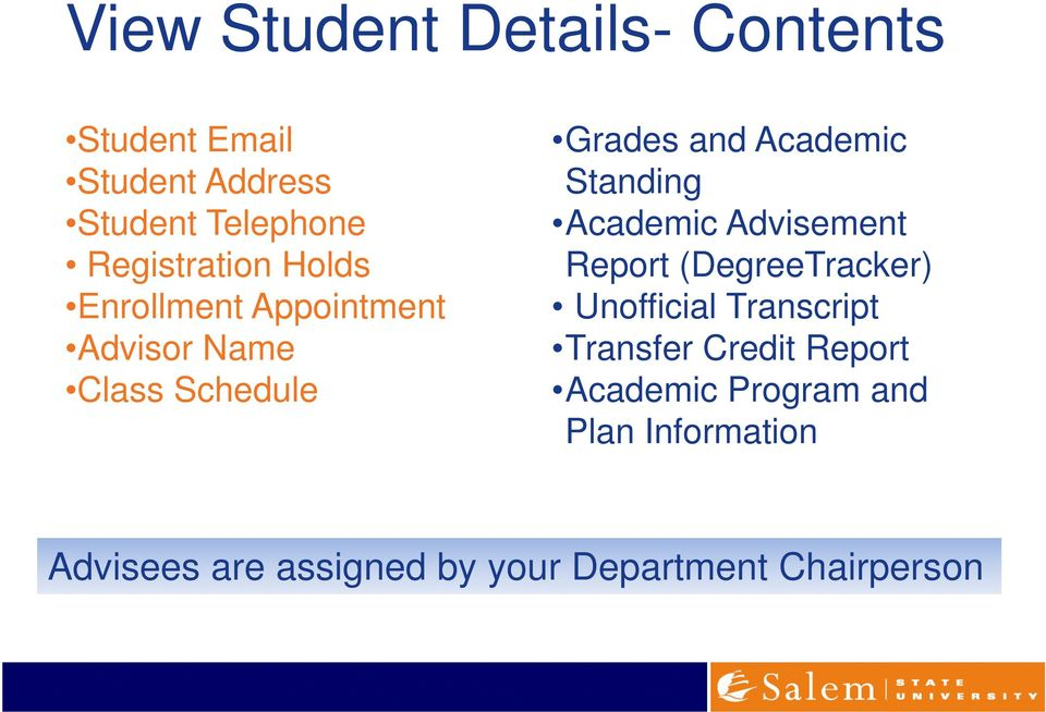Academic Standing Academic Advisement Report (DegreeTracker) Unofficial Transcript