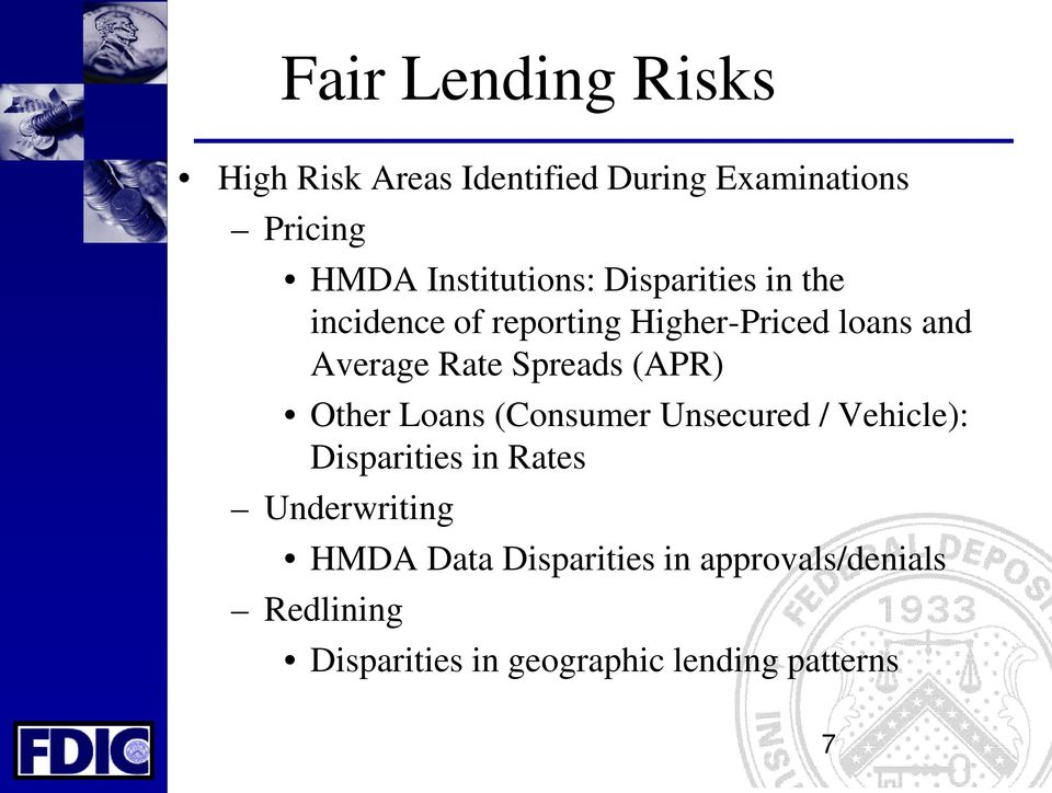 Rate Spreads (APR) Other Loans (Consumer Unsecured / Vehicle): Disparities in Rates