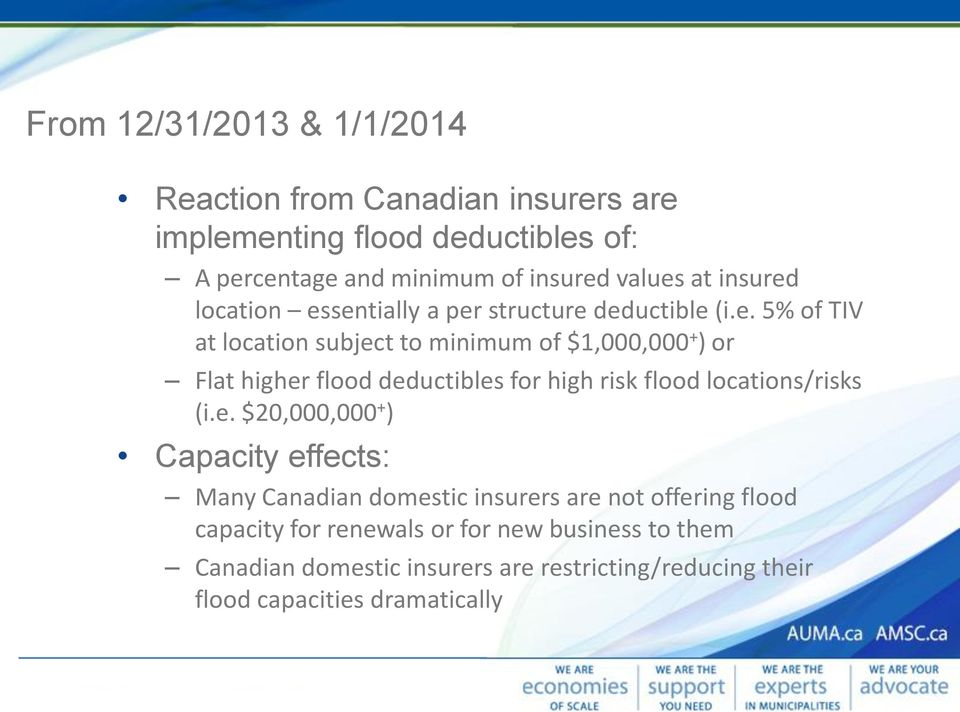 e. $20,000,000 + ) Capacity effects: Many Canadian domestic insurers are not offering flood capacity for renewals or for new business to them