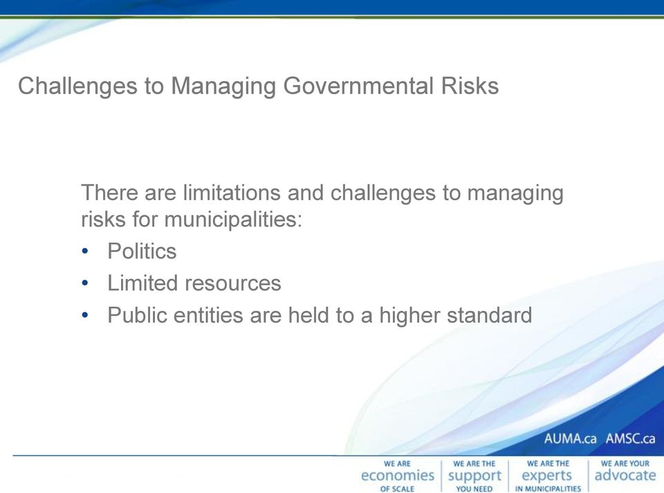 risks for municipalities: Politics Limited