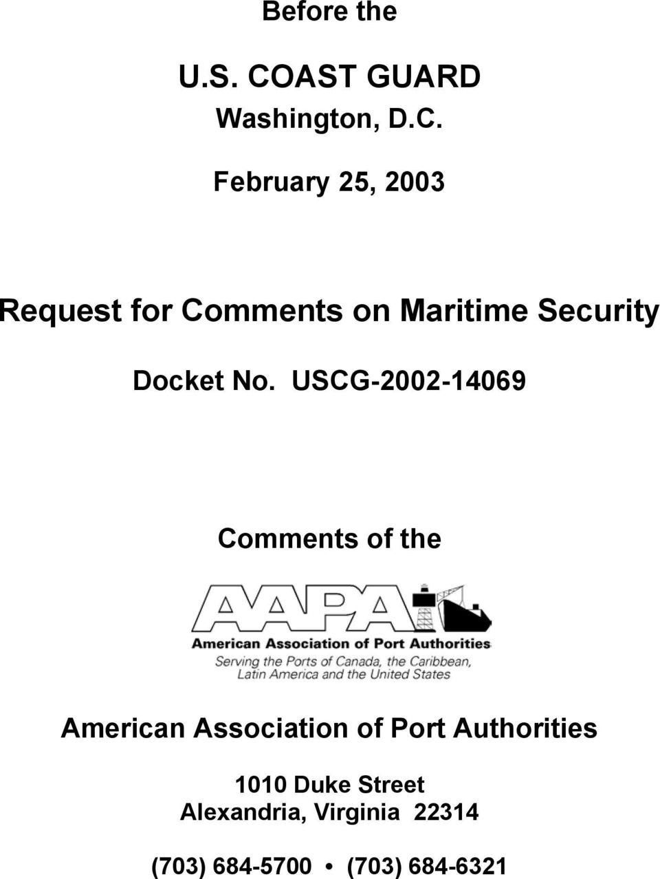 February 25, 2003 Request for Comments on Maritime Security