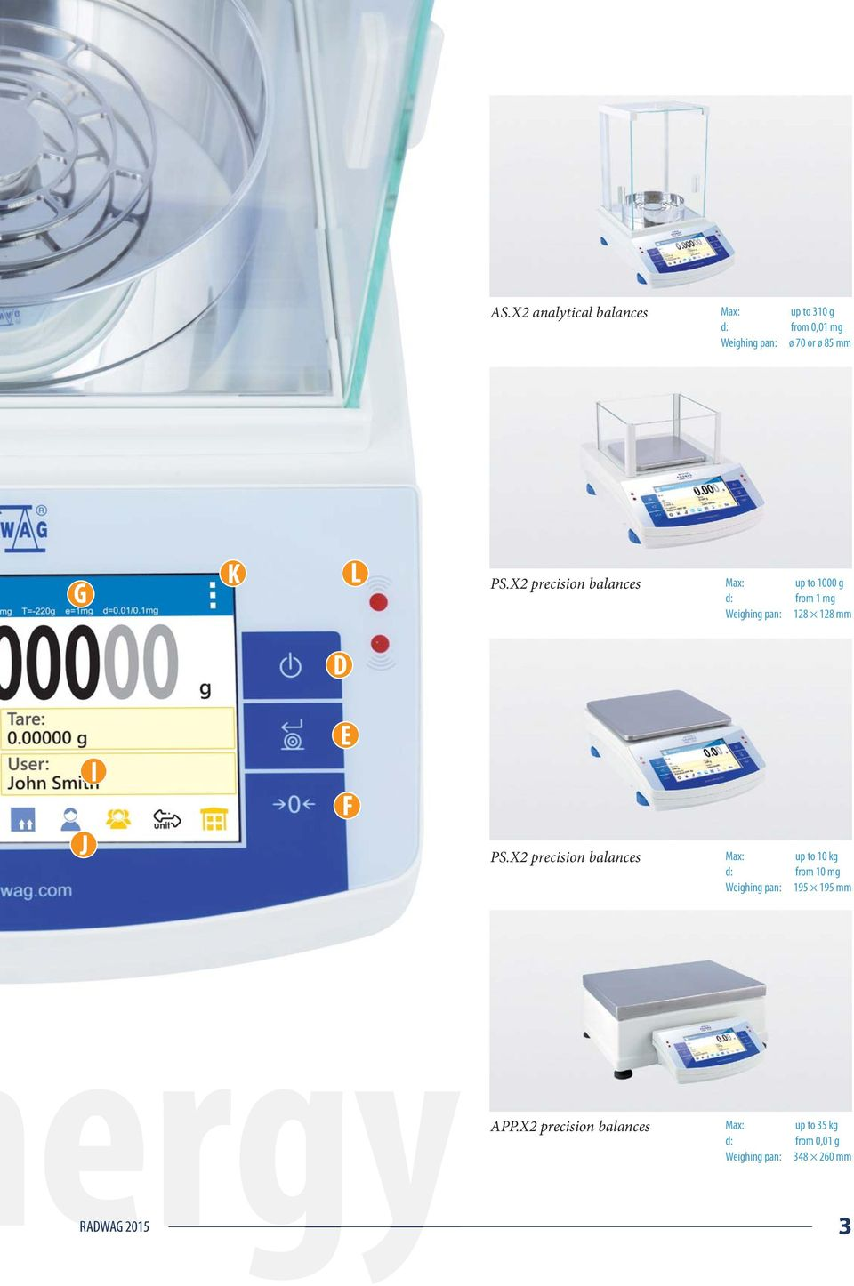 X2 precision balances Max: up to 1000 g d: from 1 mg Weighing pan: 128 128 mm D J I E F