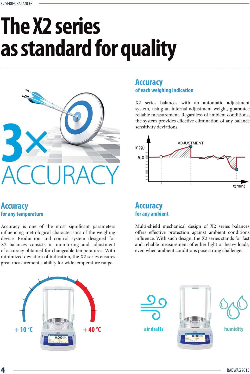 Accuracy for any temperature Accuracy is one of the most significant parameters influencing metrological characteristics of the weighing device.